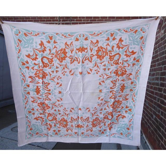 Cottage Vintage Linen Tablecloth Stencil Print For Sale - Image 3 of 5