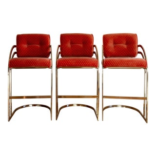 1980s Vintage Milo Baughman Style Brass Cantilever Bar Stools- Set of 3 For Sale