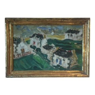 1960s Vintage Abstract Landscape Framed Painting For Sale
