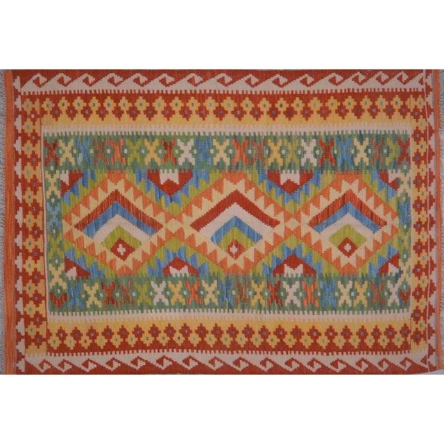 Vintage Maimana Red & Blue Wool Kilim Rug - 3'6″x5′ For Sale - Image 4 of 4