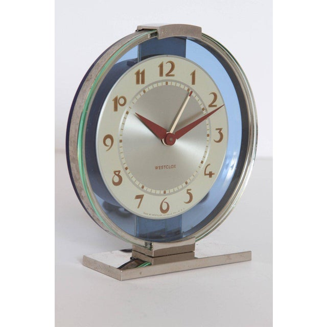 Machine Age Art Deco Westclox Desk Clock Chrome with Cobalt Glass For Sale In Dallas - Image 6 of 11