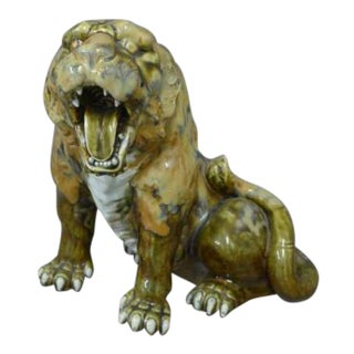 Late 19th Century Antique Japanese Glazed Art Pottery Tiger For Sale