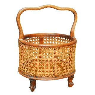 Italian Footed Woven Cane Basket For Sale