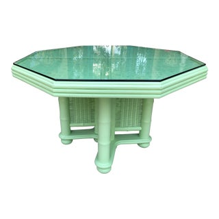 Vintage Bamboo and Wicker Table With Glass Top For Sale