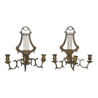 18th Century French Bronze Lyre 3 Arm Wall Candelabra-a Pair For Sale