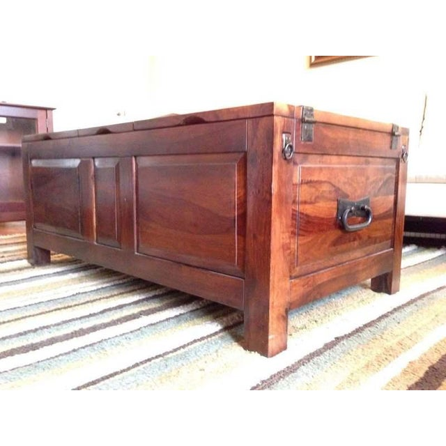 Contemporary Carved Walnut Coffee Table Chest - Image 4 of 7