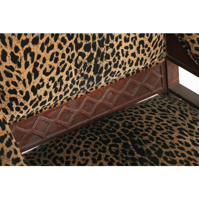 Yellow Empire Style Chair Pair with Leopard Print Covering For Sale - Image 8 of 8