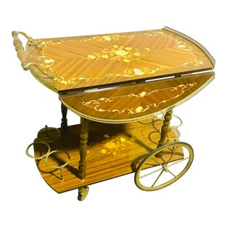 Vintage Italian Marquetry Inlaid Brass & Wood Tea/Bar Cart For Sale