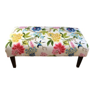 Upholstered Asian Floral Bench For Sale