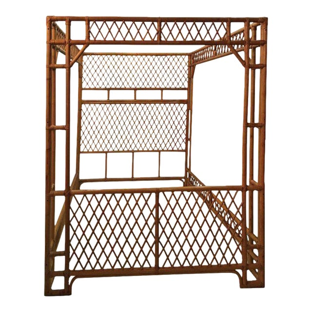 Rattan Bamboo Chinese Chippendale Queen Canopy Bed For Sale