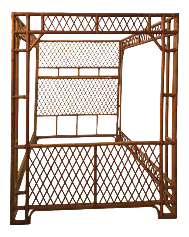 Rattan Bamboo Chinese Chippendale Queen Canopy Bed  sc 1 st  Chairish : chinese canopy bed - memphite.com