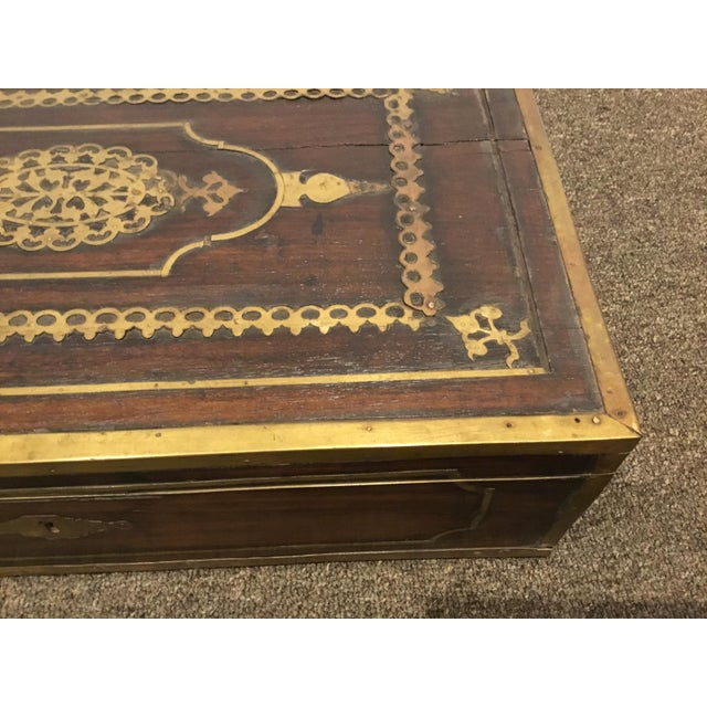 English Antique English Mahogany Box With Ornate Brass Inlay For Sale - Image 3 of 5
