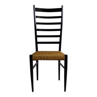 Gio Ponti Italian Modern Chair W/ Woven Rope Seats & Ladderbacks For Sale