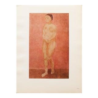 """1948 Pablo Picasso Original """"Grand Nu Rose"""" Lithograph, C. O. A. For Sale"""