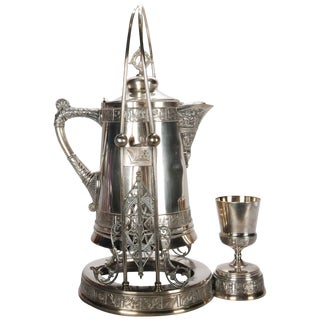 Antique Pairpoint Embossed Silver Plate Tilting Beverage Pitcher With Goblet For Sale
