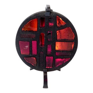 French Mosaic Glass and Iron Table Lamp by Jacques Avoinet and Jean Simon Labret For Sale