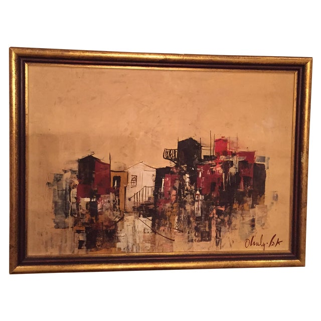 Mid-Century City-Scape Painting - Image 1 of 3