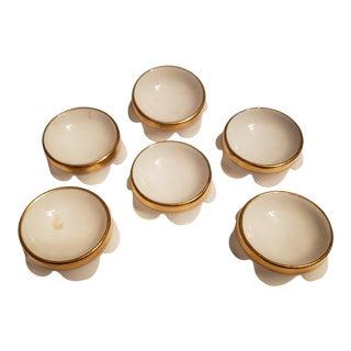 France Haviland Porcelain Gold Trim Salt Cellars - Set of 6 For Sale