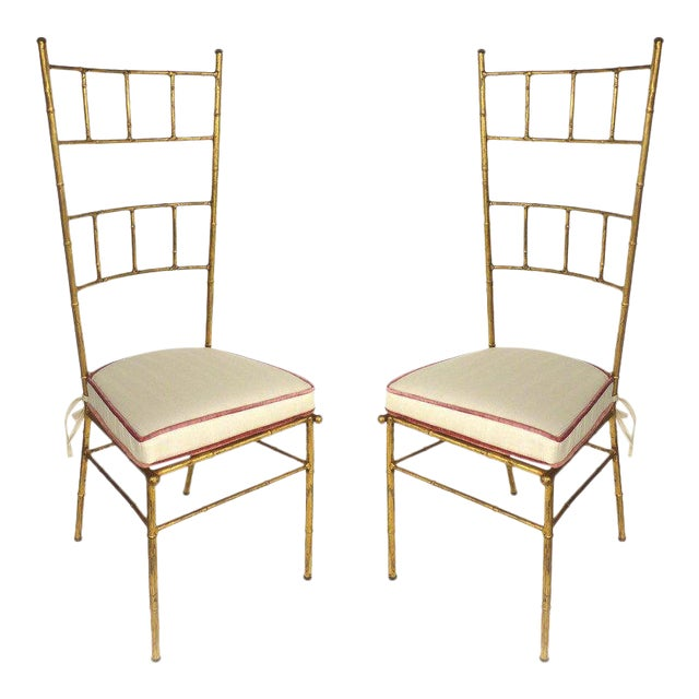 1970s Vintage Bagues Style Italian Gilt Iron High-Back Chairs- A Pair For Sale