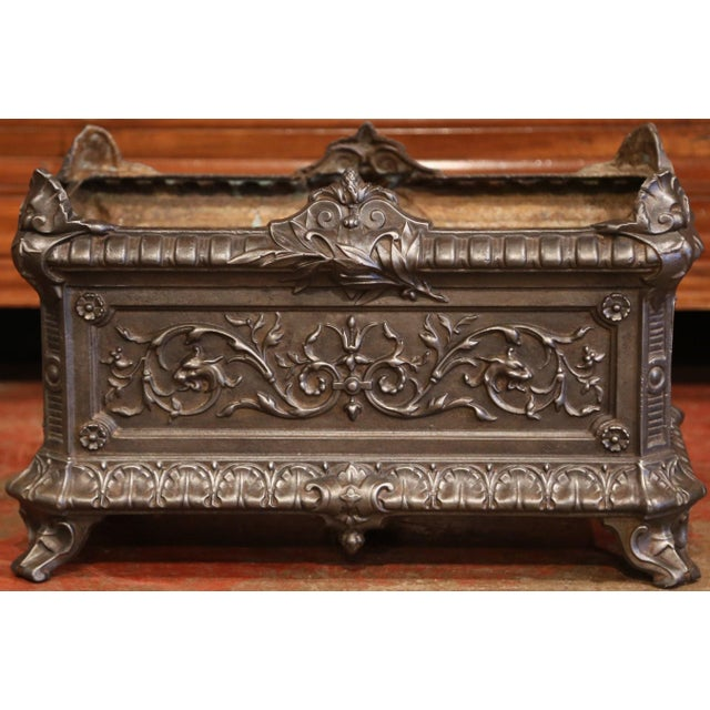 Iron 19th Century French Polished Iron Outdoor Jardinières With Raised Decors - a Pair For Sale - Image 7 of 11