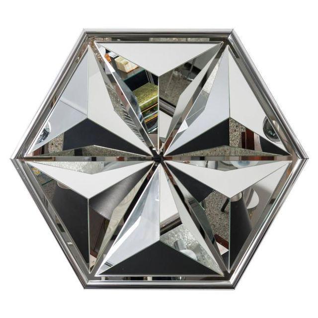 Polished Chrome Polygon Shaped Wall Mirror For Sale