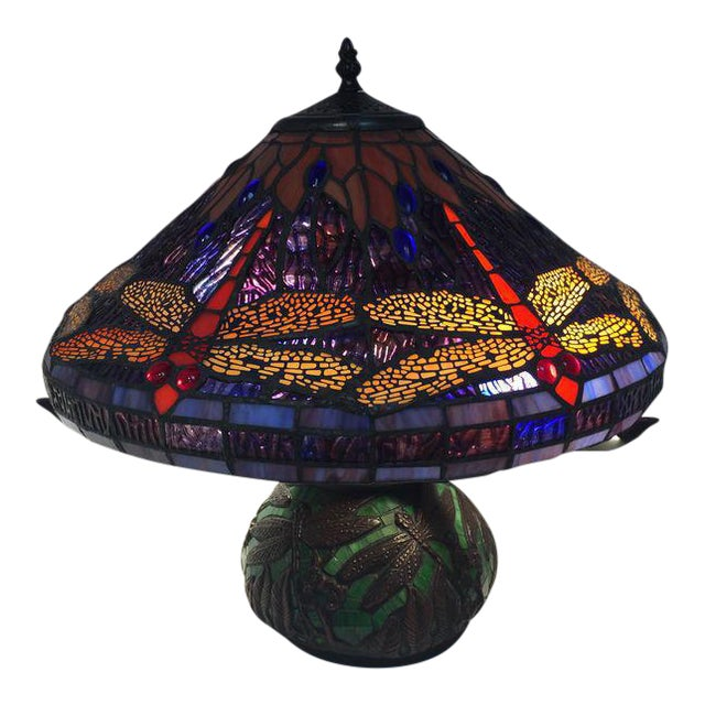 Dragonfly Motif Stained Glass Lamp For Sale