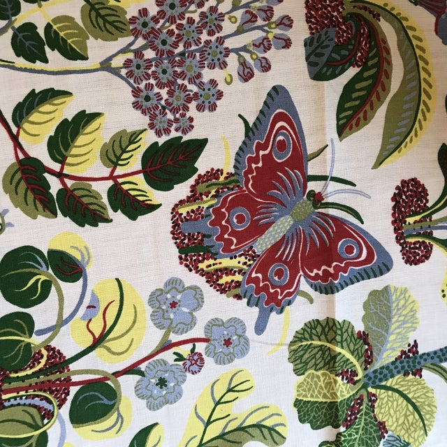 Schumacher Exotic Butterfly Print Fabric 13 1/2 Yards For Sale