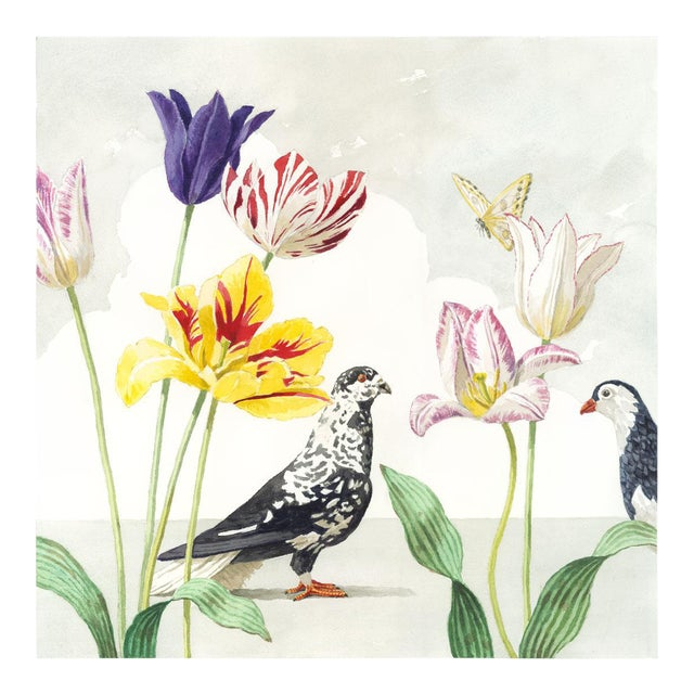 """Tulips With Two Pigeons"" Giclée Print - Image 1 of 3"
