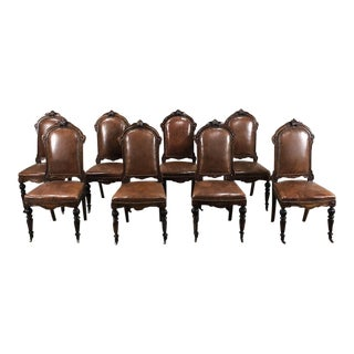 Set of Eight 19th Century French Walnut Dining Chairs For Sale