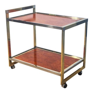 Midcentury Drinks Cart of Brass, Chrome, and Burled Wood by Willy Rizzo For Sale