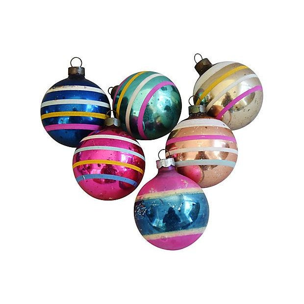 1960s Striped Christmas Ornaments w/Box - Set of 12 - Image 4 of 7