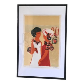 1970s Modernist Figurative Lithograph Numbered 79/250 by Frederic Menguy, Signed and Framed For Sale