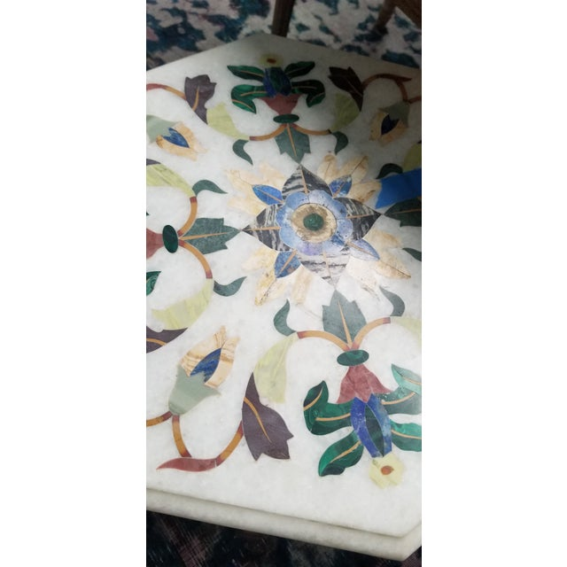 Vintage Hardstone Inlaid Marble Top Octagonal Side Table For Sale In New York - Image 6 of 12