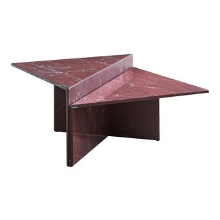 Rosso Francia Two Tiered Marble Coffee Table For Sale