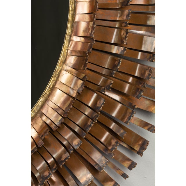 1970s Curtis Jere Copper Eyelash Mirror For Sale - Image 5 of 12