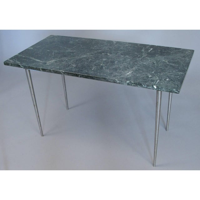 1970s Vintage 1960s Steel and Green Marble Top Table For Sale - Image 5 of 8