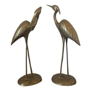 1980s Brass Heron Figurines - A Pair For Sale