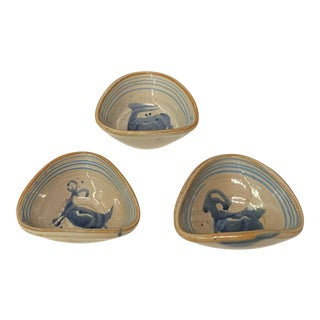 Hand Painted Ceramic Mini Dishes - Set of 3 For Sale