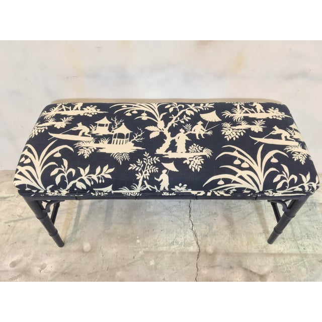 1970s Chinoiserie Faux Bamboo Benches - A Pair For Sale - Image 4 of 6