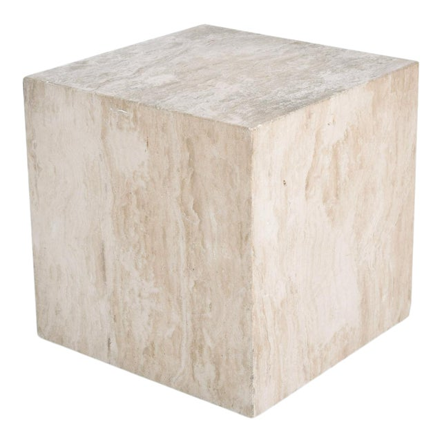 Mid-Century Modern Travertine Cube Side Table For Sale