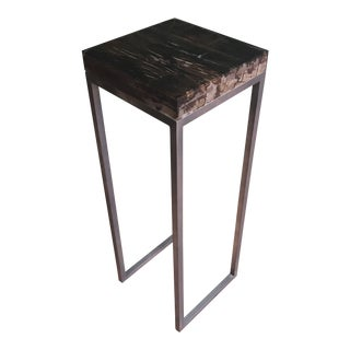Contemporary Noir Reclaimed Wood Side Table For Sale