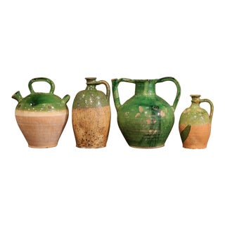 18th Century French Green Glazed Olive Jars - Set of 4 For Sale