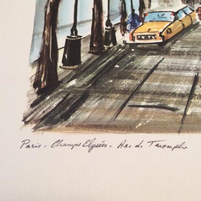 """Vintage Paris 1950's Litho """"Champs Elysees Arc de Triompe"""" by Ducollet - Image 5 of 11"""