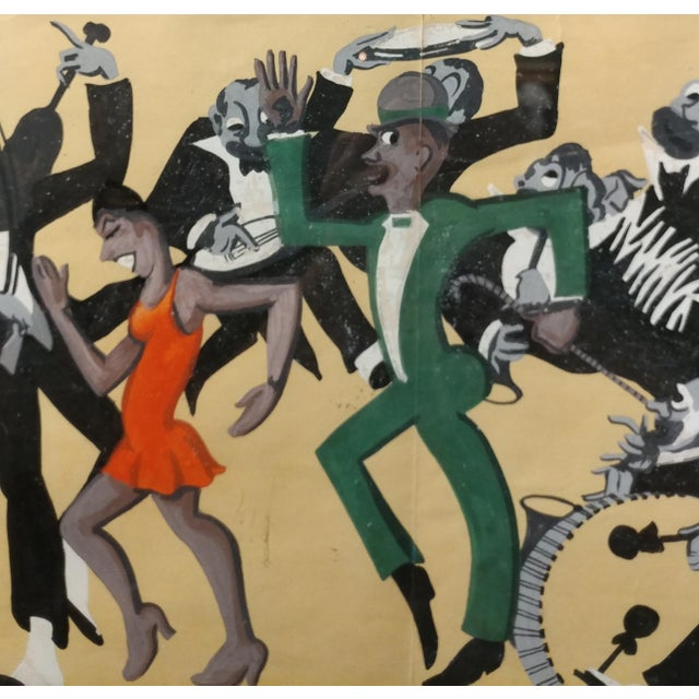 Lucille Miller -African American Dancing Jazz-1930 - Painting Guache on Paper For Sale In Los Angeles - Image 6 of 11