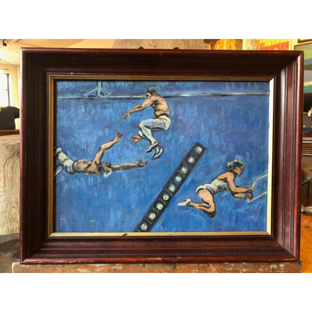 Wood Acrobats Oil on Board by A. Smith For Sale - Image 7 of 7