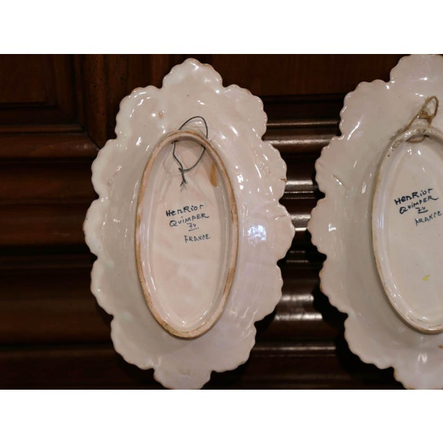 Pair of 19th Century French Faience Oval Wall Plates Signed Henriot Quimper For Sale - Image 10 of 11