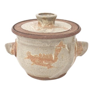 Large Vintage Studio Pottery Double Handled Lidded Pot For Sale