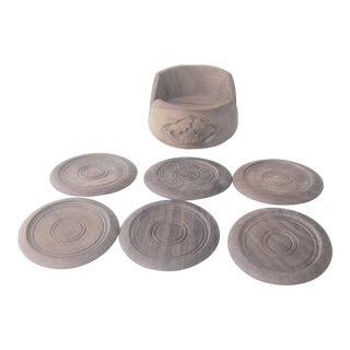 Mid-Century Danish Modern Teak Coaster Set - 7 Pieces For Sale