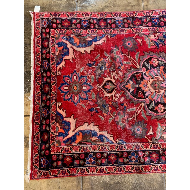 """Persian Rich Tones Vintage Persian Area Rug - 9' 8.5"""" X 5' For Sale - Image 3 of 7"""