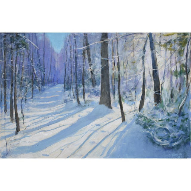 Almost blinding light the morning after an intense snowstorm. This is painted on a 1/2 inch thick wood panel with...